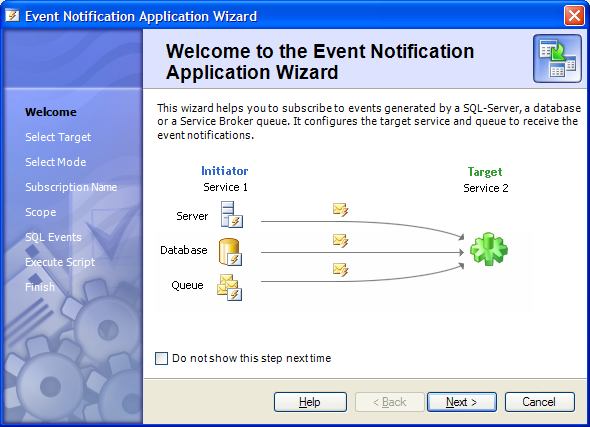 Event Notifications Application Wizard