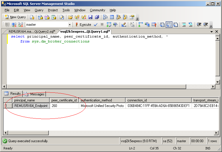 select principal_name, peer_certificate_id, authentication_method, * from sys.dm_broker_connections